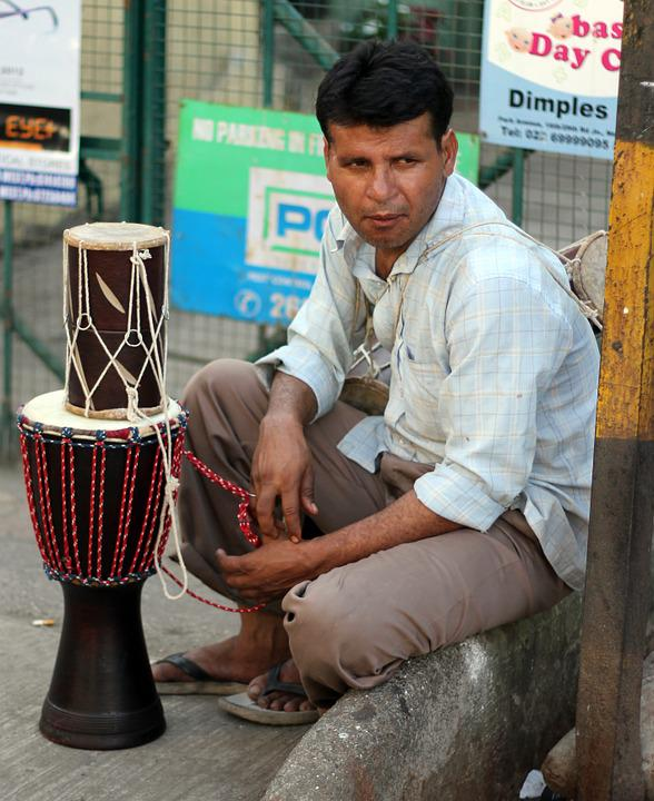 Drums, Seller, Street, India, Indian, Merchant