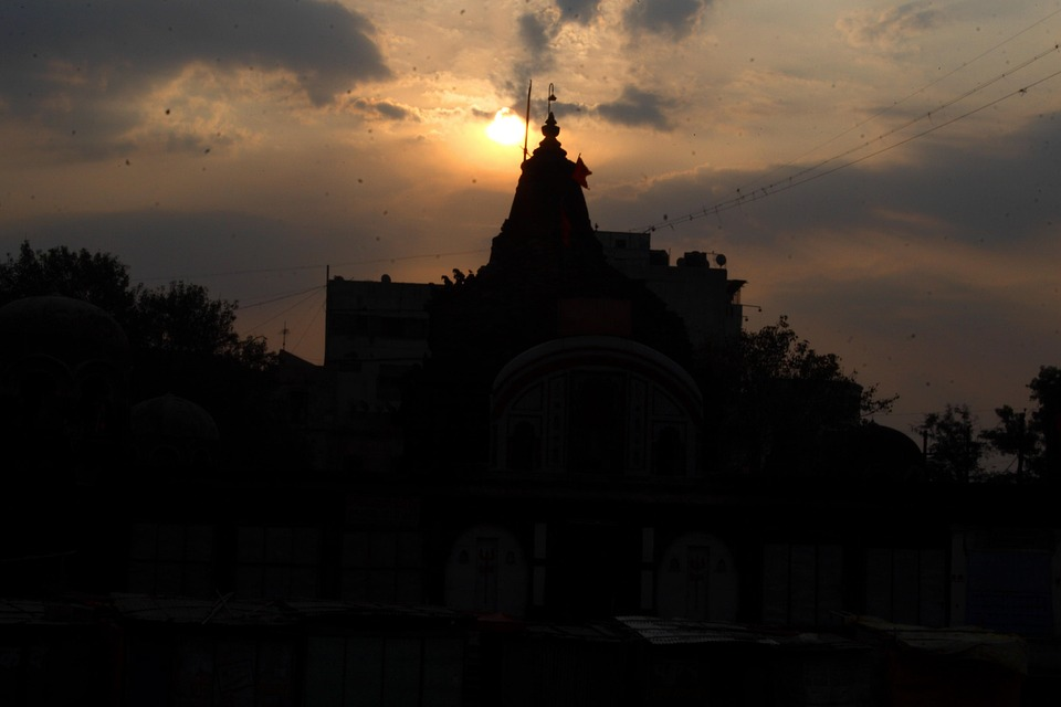 Temple, Evening Clouds, Indian Temple