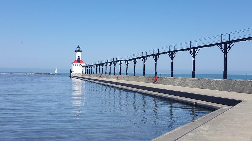 Indiana, Usa, Lake Michigan, Lighthouse, Michigan City