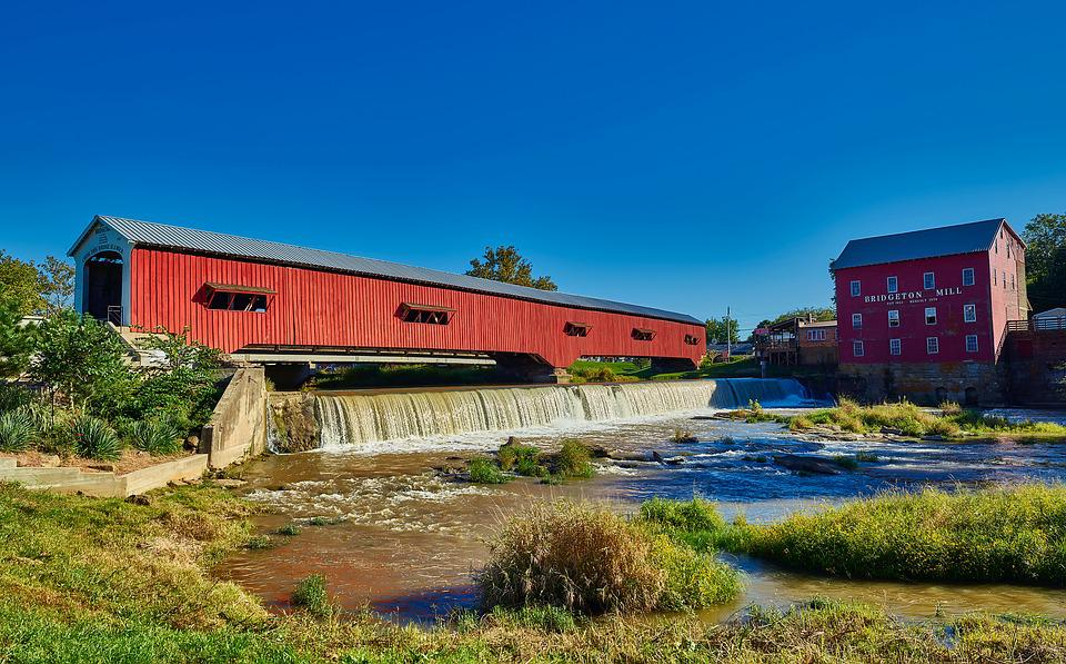 Covered Bridge, Bridgeton, Indiana, Landscape, Red