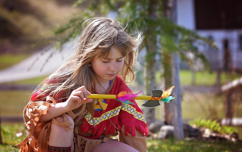 Human, Child, Girl, Blond, Long Hair, Indians, Indian