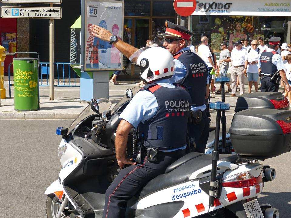 Police, Indications, Motorcycle, Guard, Tarragona