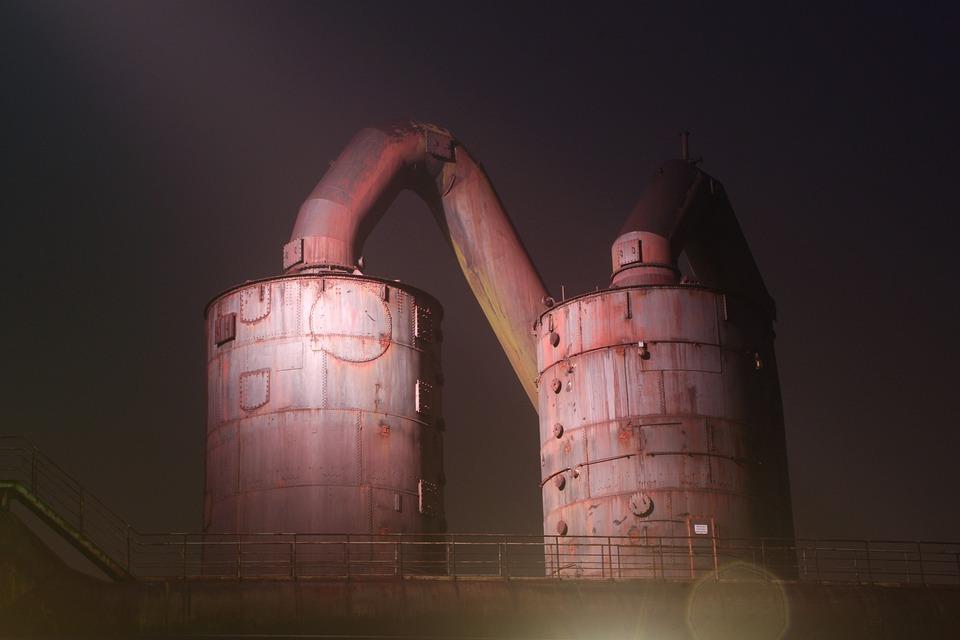 Tank, Industry, Night, Lighting, Industriehafen