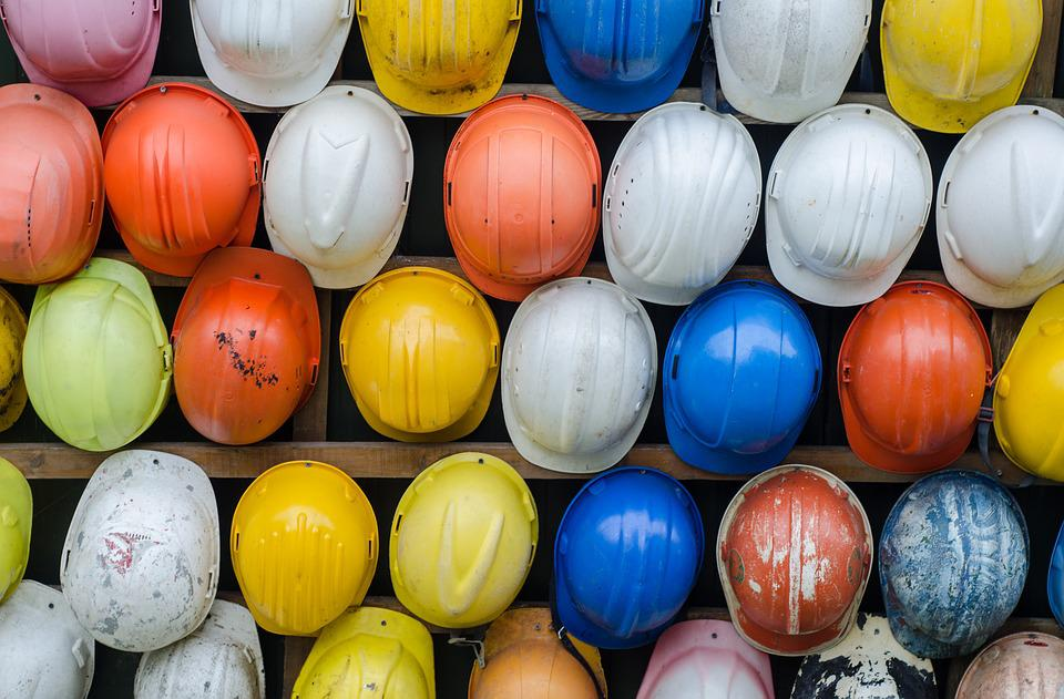 Construction, Helmet, Colorful, Pattern, Industry, Work