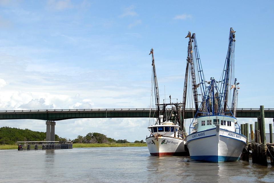 Shrimp Boat, Nets, Netter, Commercial Fishing, Industry