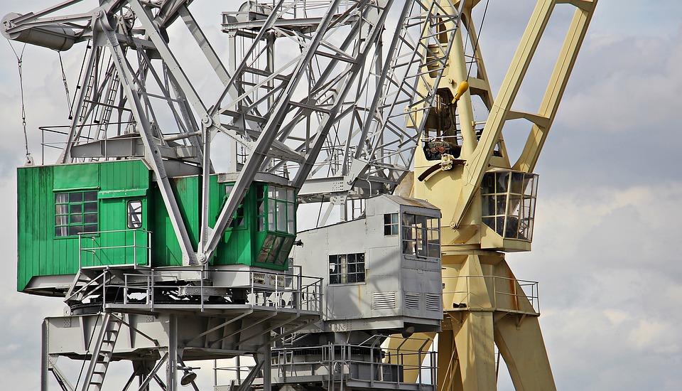 Harbour Cranes, Sky, Clouds, Industry, Port, Cranes