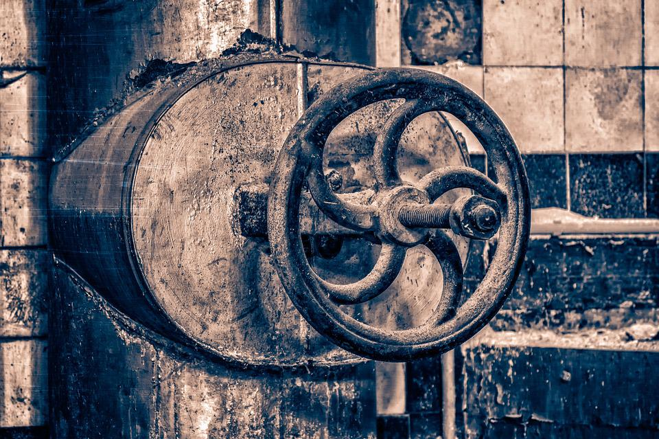 Valve, Wheel, Industry, Old, Metal, Factory
