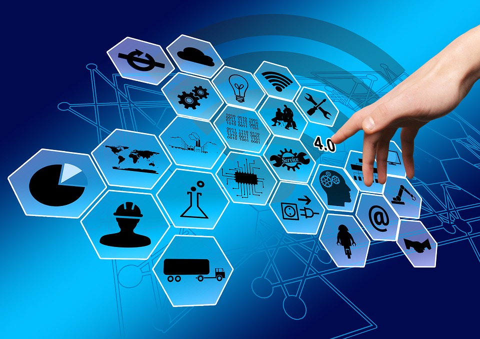 Industry, Industry 4, Network, Points, Hand, Finger