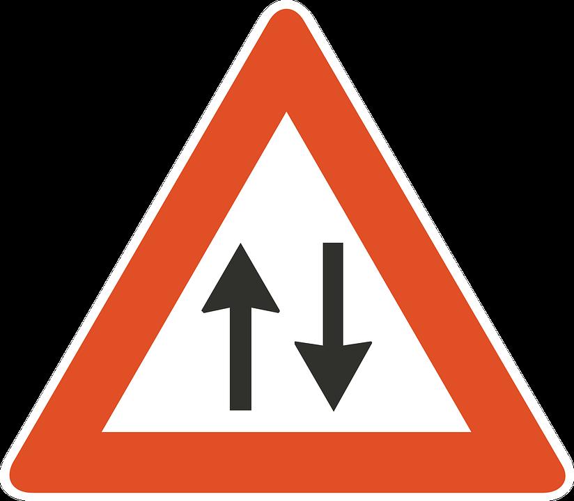 Ahead, Traffic, Two, Way, Road, Arrows, Information