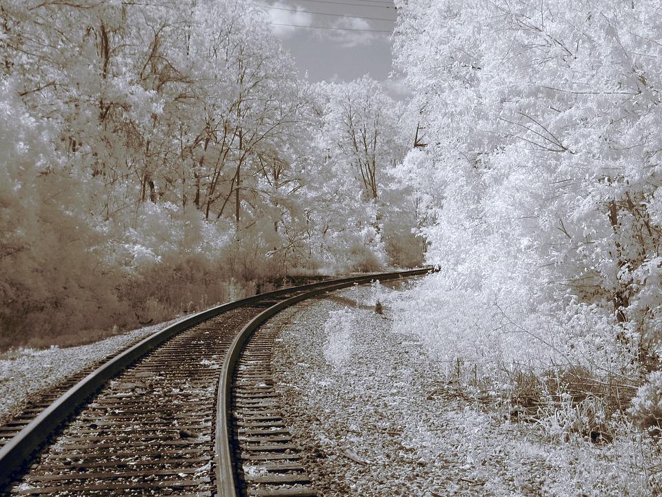 Infrared, Railroad Tracks, Train Tracks, Railroad