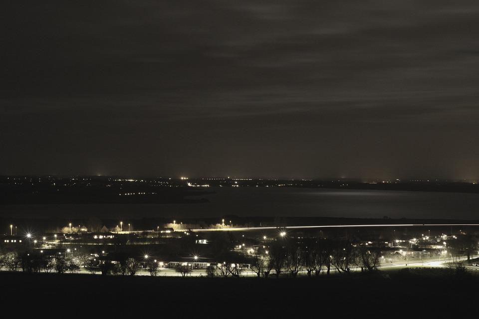 Midnight, City, Infrastructure, Street Lighting