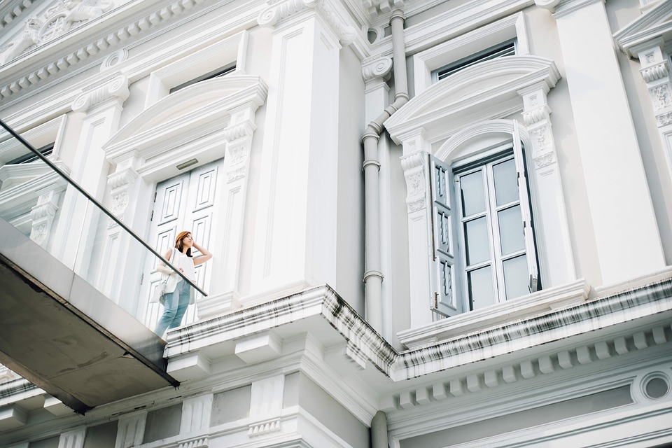 Woman, Building, White, Fashion, Infrastructure