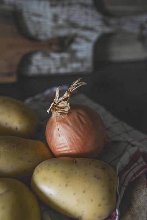 Onion, Potato, Vegetables, Food, Kitchen, Ingredients