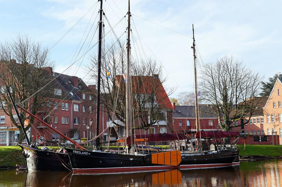 Emden, East Frisia, Inland Port, Sailing Boats, Antique