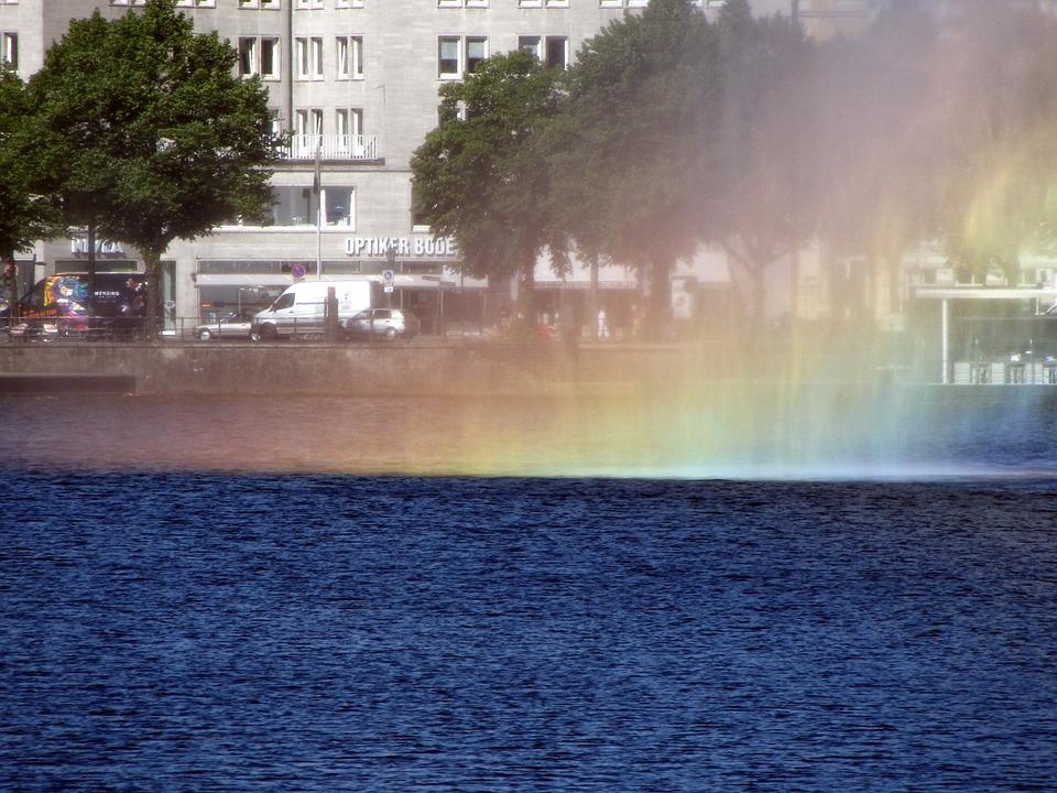 Hamburg, Innenalster, Fountain, Rainbow