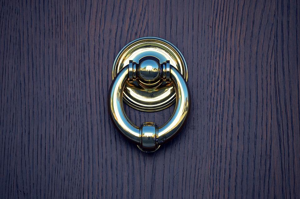 Door, Doorknocker, Input, Metal, Old, Wood, Fitting