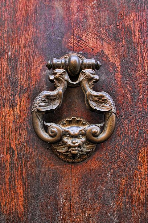 Door, Doorknocker, Wood, Metal, Input, Old, Handle