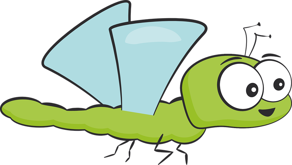 Insect, Dragonfly, Green, Cartoon, Wing