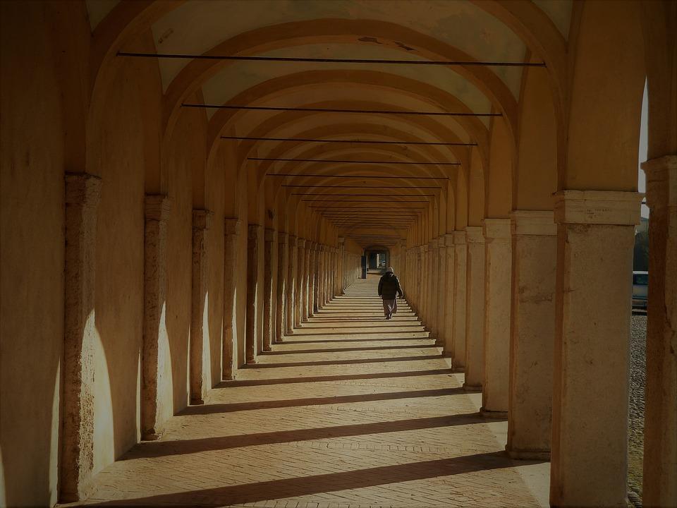 Architecture, Inside, Corridor, Column