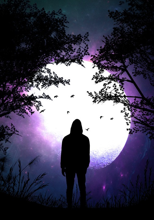 Alone, Silhouette, Night, Inspiration, Manipulation