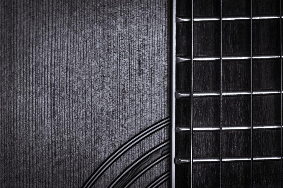 Guitar, Macro, Blackandwhite, Music, Instrument