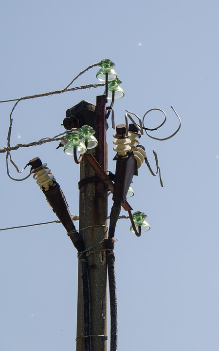 Electricity, Post, Wire, Insulators