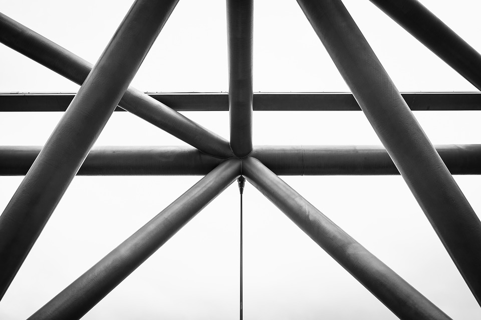 Architecture, Shapes, Interior, Support, Abstract, Bw