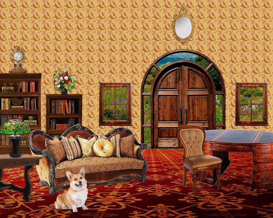 Interior, Room, Furniture, Doors, Windows, Bookcases