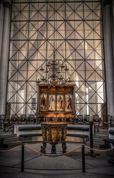 Church, Interior, Baptismal Font, Religion