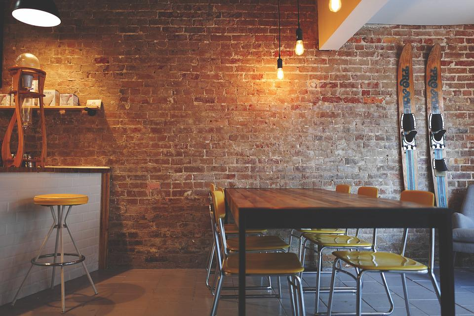 Free photo Interior Design Furniture Brick Wall Chairs Lights