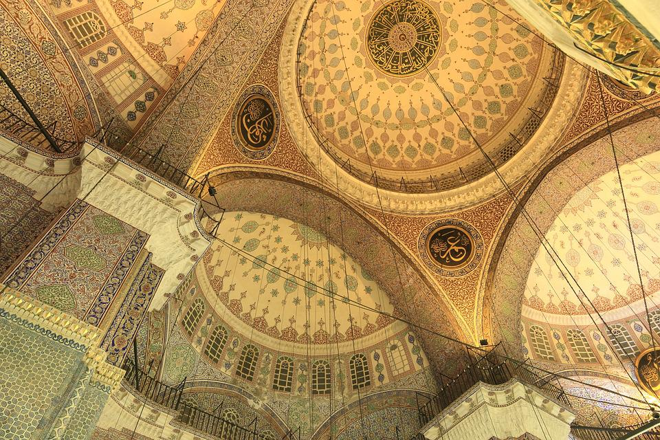 Turkey, Istanbul, Mosque, Roof, Painting, Interior