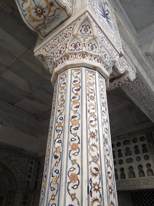 Pillar, Cornice, Interior, Marble Inlay