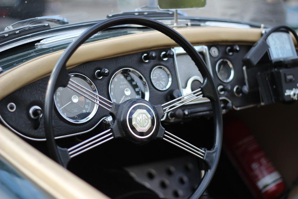 Mg, Car, Vintage, Interior, Old, Motor, Steering, Retro