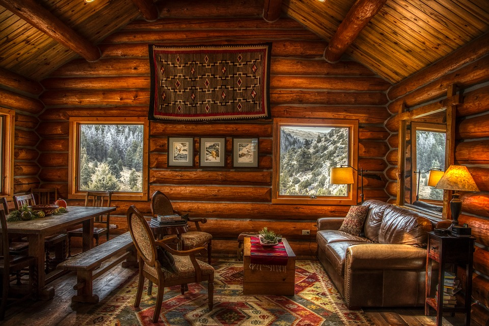 Log Cabin, Inside, Indoors, Interior, Furniture, Rustic
