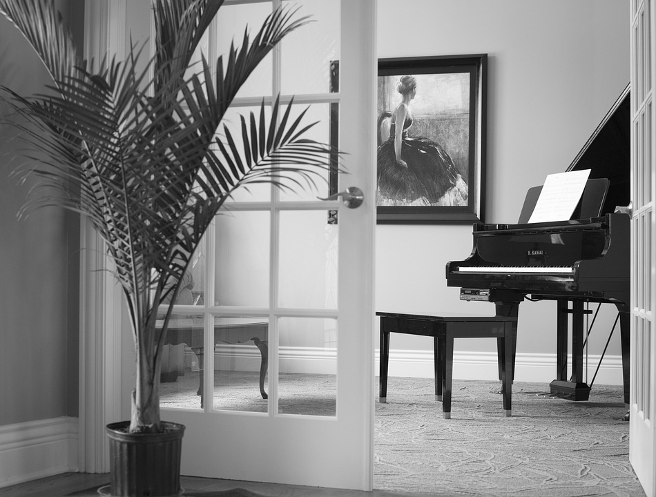 Grand Piano, Black, Instrument, Shiny, Interior