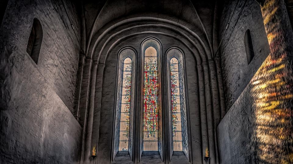 Church, Interior, Window, Stained Glass Window