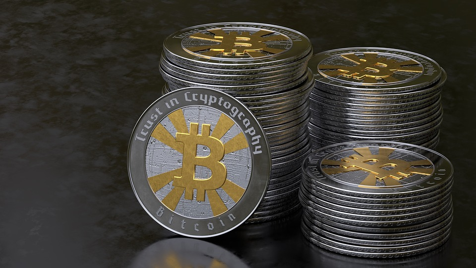 Bitcoin, Coins, Internet, Crypto-currency, Forward, 3d