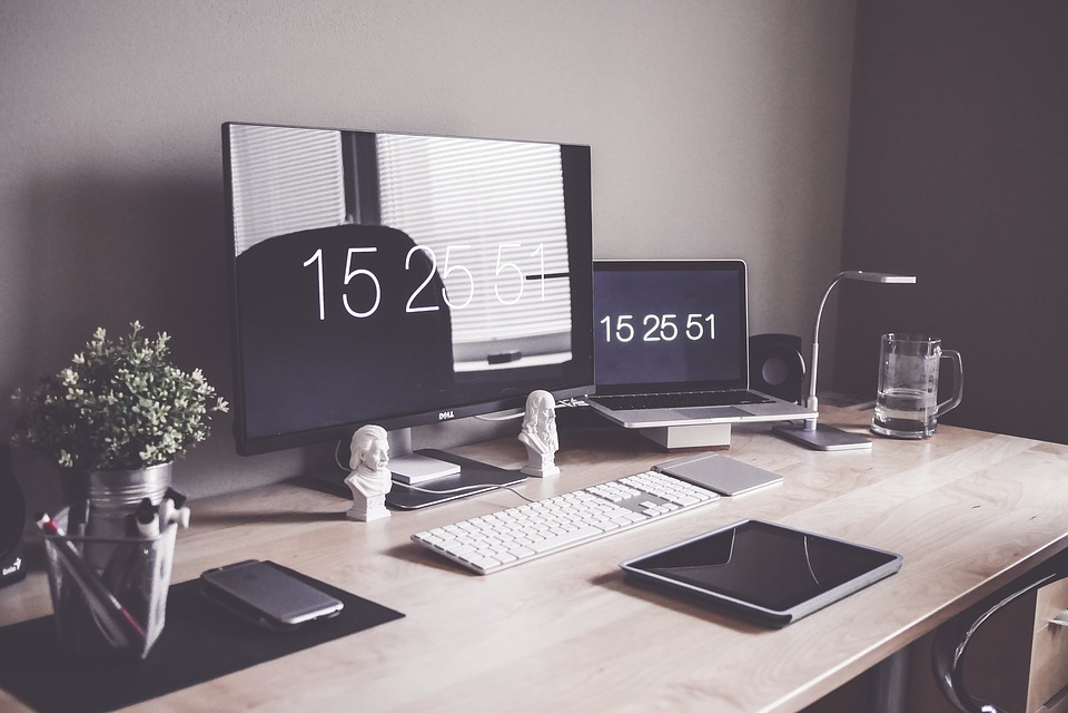 Home Office, Computer, Desk, Display, Iphone, Keyboard