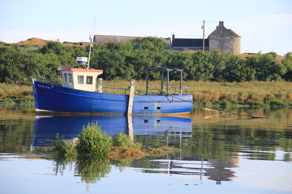 Boat, Fishing Boat, Sea, Ocean, Ireland, Reflection