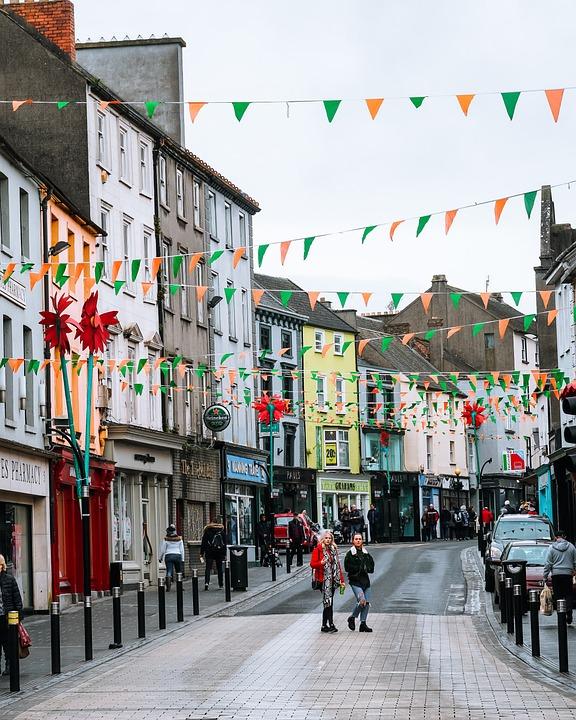 Colorful, Streets, Cobblestone, Village, Ireland