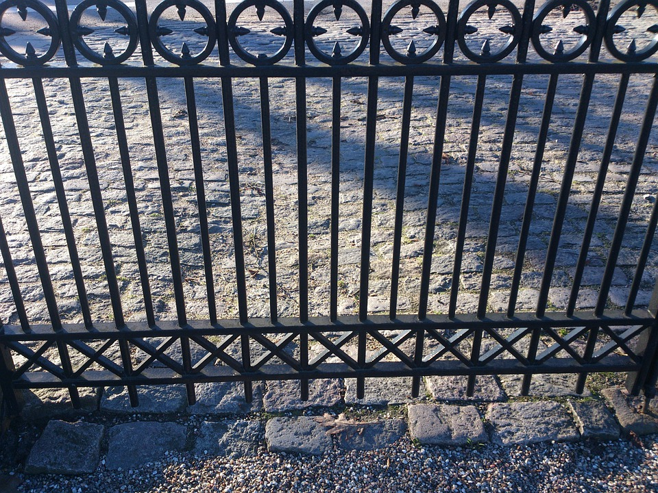 Fences, Iron, Texture, Pattern, Black, Cobblestone