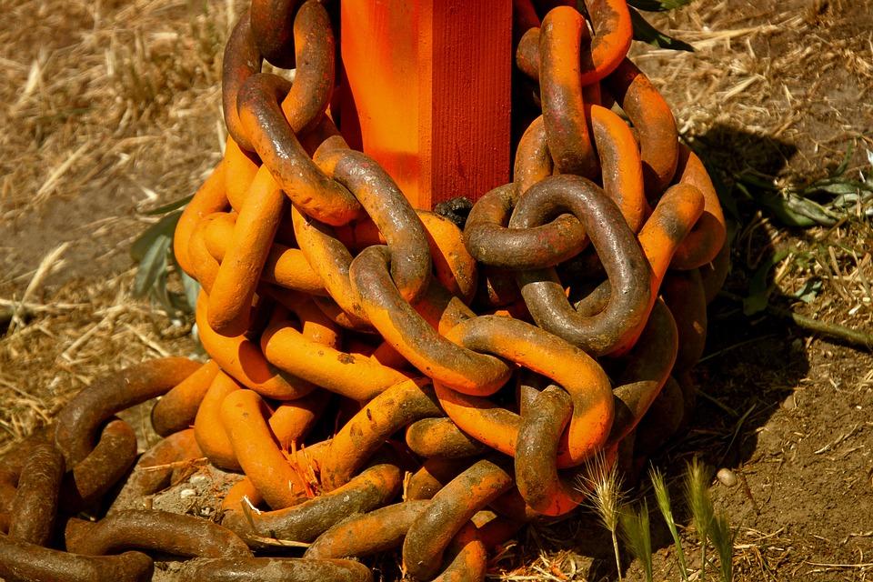Iron, Iron Chain, Connection, Rusty, Orange