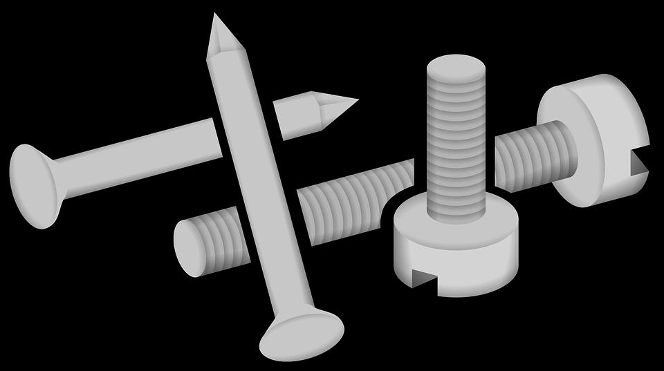 Screws, Metal, Iron, Fastener, Metallic, Hardware