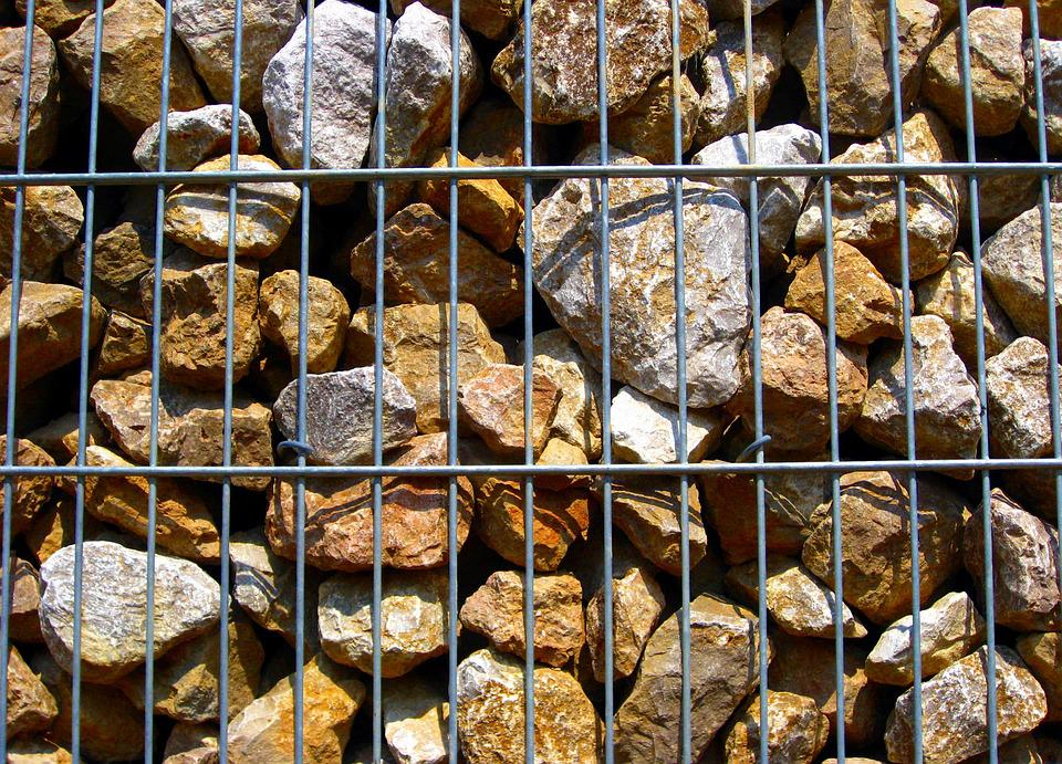 Fence, Metal, Strive, Stones, Stone Fence, Iron, Grid
