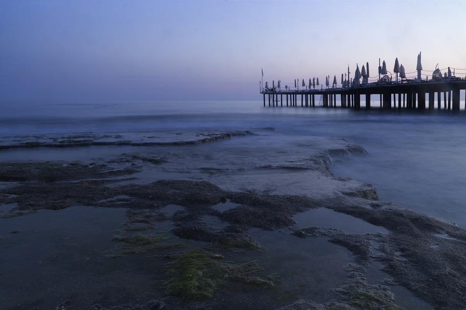 Iskele, Marine, Long Exposure, Sunset, Background, Blue
