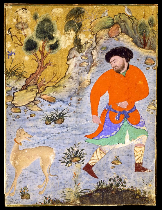 Painting, Drawing, Man, Dog, Saluki, Islam