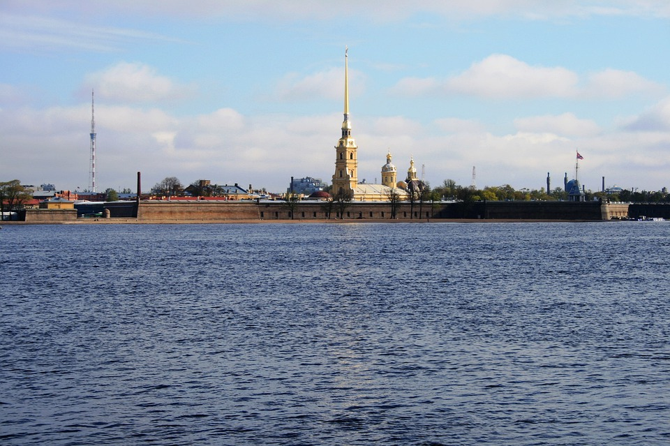 River, Neva, Water, Blue, Island, Fortress, Cathedral