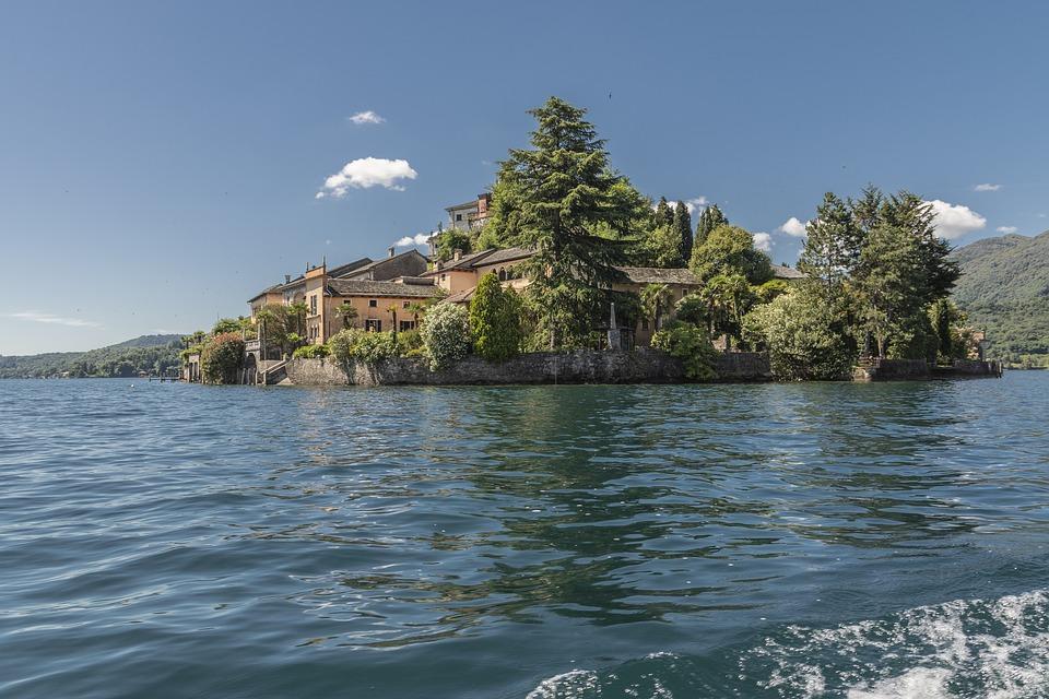 Lake, Orta, Island, San Giulio, Water, Cusio