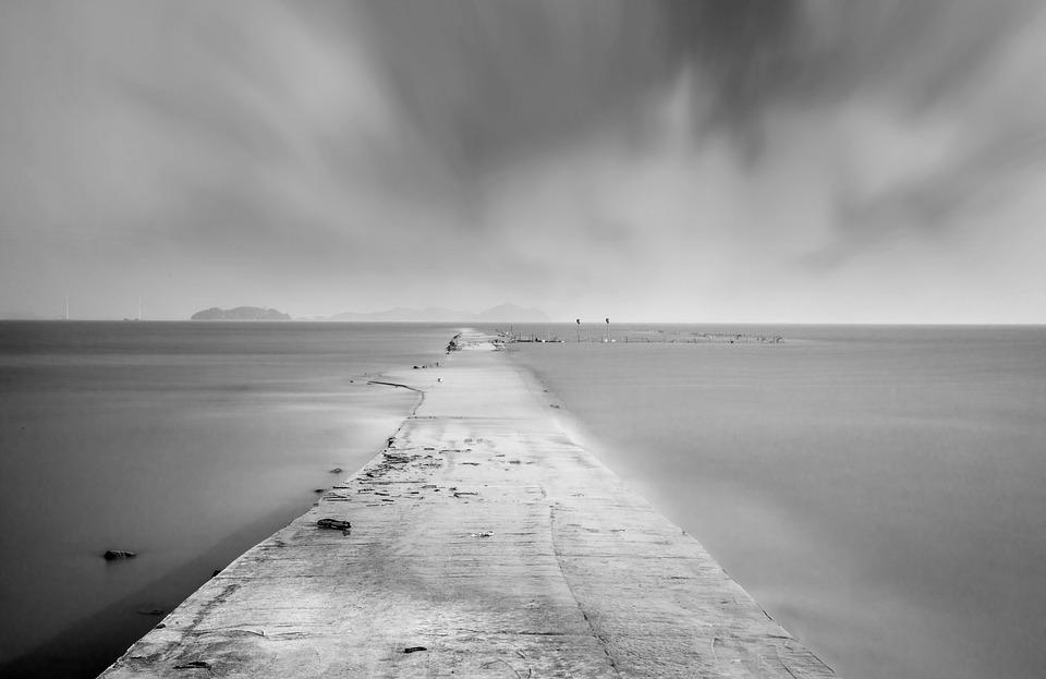 Sea, Path, Fog, Concrete, Coast, Ocean, Water, Island