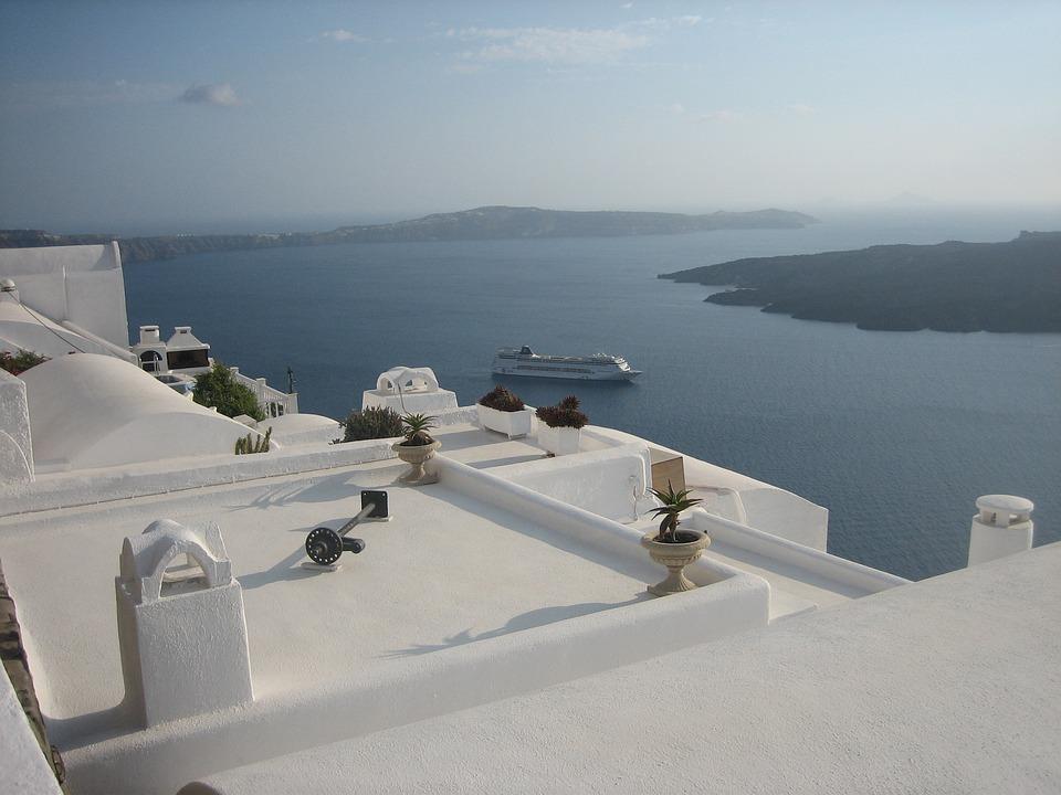 Santorini, Sea, White Houses, Greece, Island, Holidays